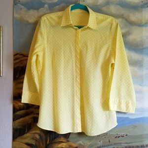 Westbound Yellow Checked Button Up Blouse Med